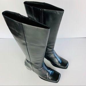 Nordstrom Boots 8 Black Fine Leather Knee High Zip